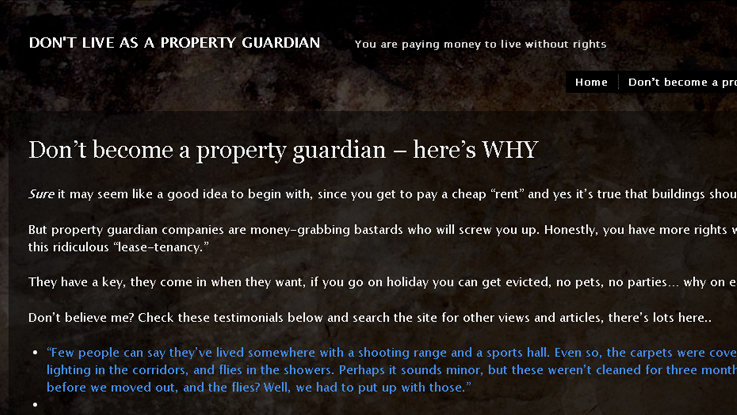 E.T.C. Dee runs the blog 'DON'T LIVE AS A PROPERTY GUARDIAN.'