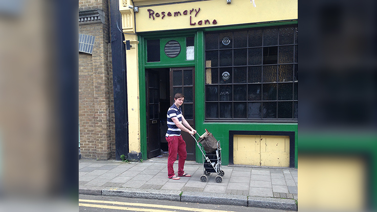 Ed outside of the old Rosemary lane Pub. Credit - Ed Moyse.