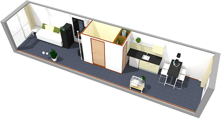 Interior design for shipping container conversion. Credit - CargoTek