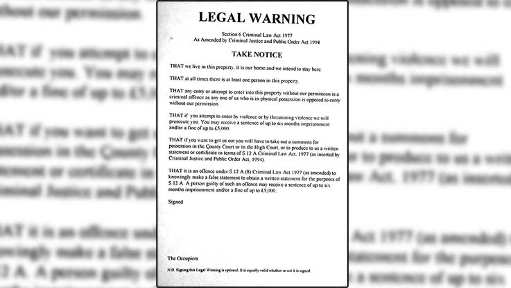A legal warning citing Section 6 of the . Squatters often put this on the door of a building to protect it from unlawful intrusion. Photo credit - Indy Media.